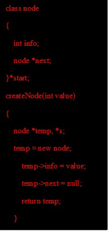 Data Structure - Code for creation of node