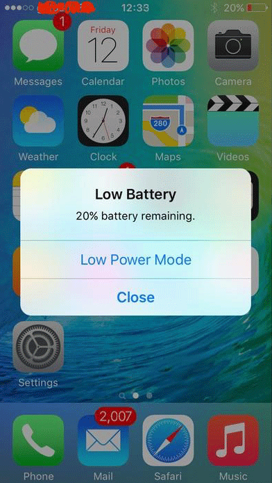 Low battery iOS 8