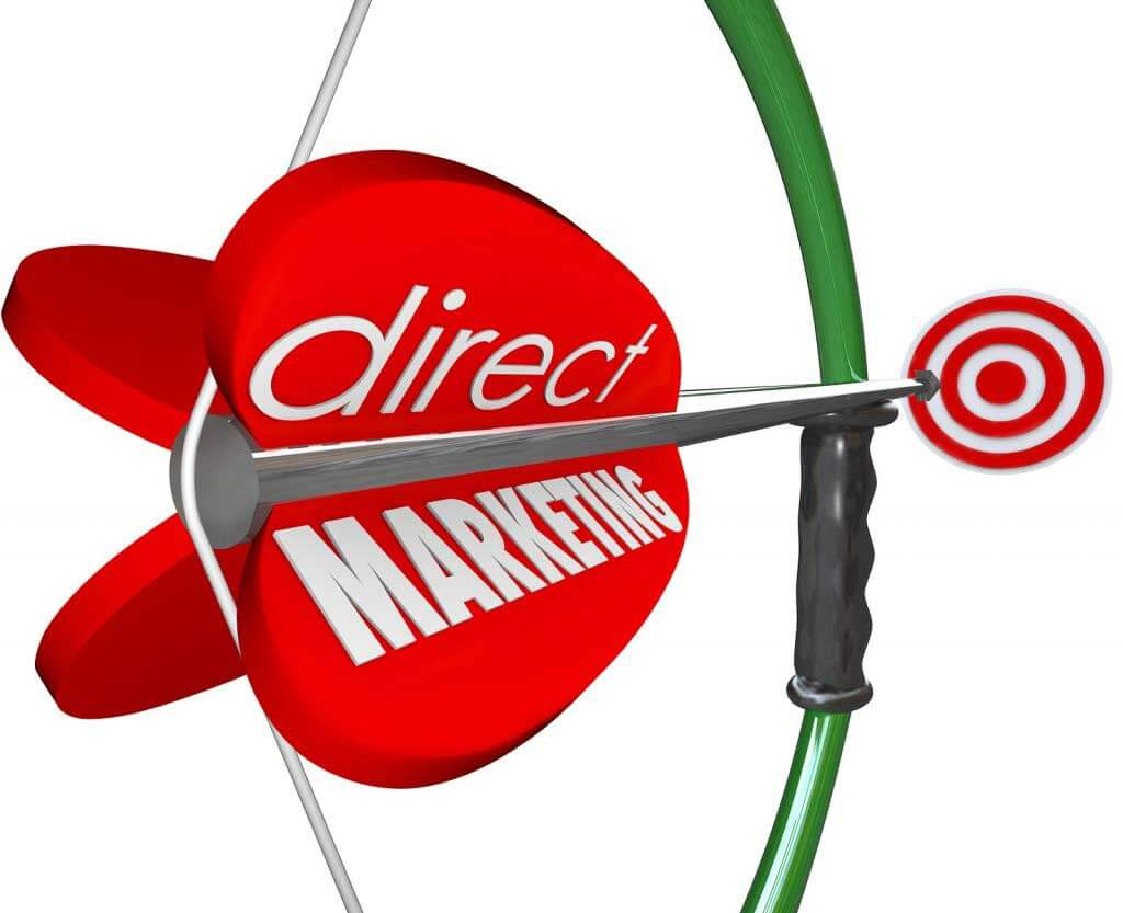 Direct Marketing words arrow bow aiming new prospects customers