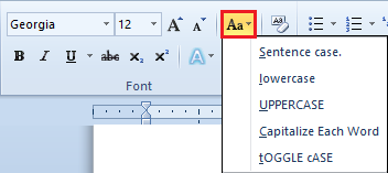 Working With Text In Word - Change case command screen