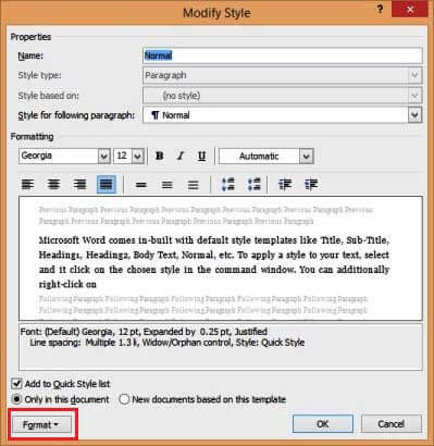 Working With Text In Microsoft Word - Modify Style Screen