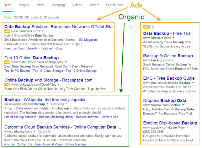 paid search vs organic search