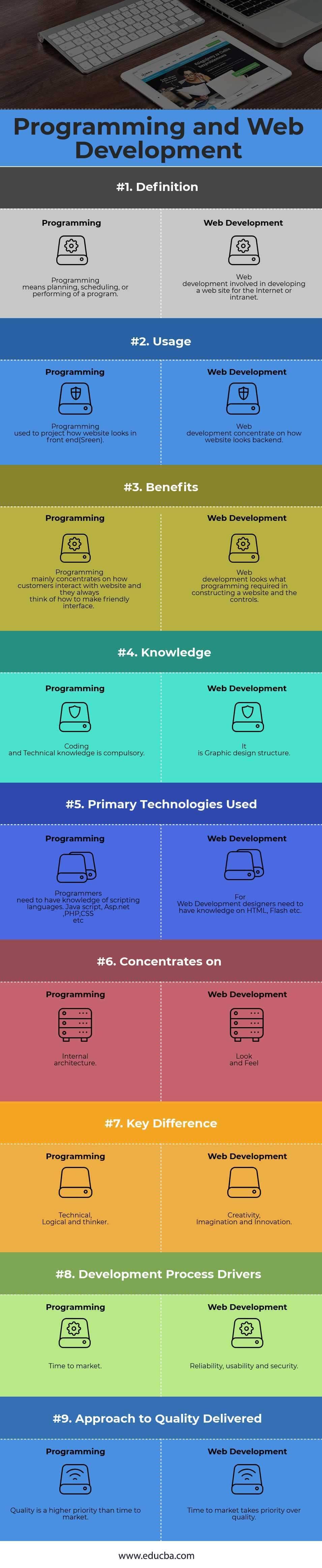 Programming vs Web development Infographics