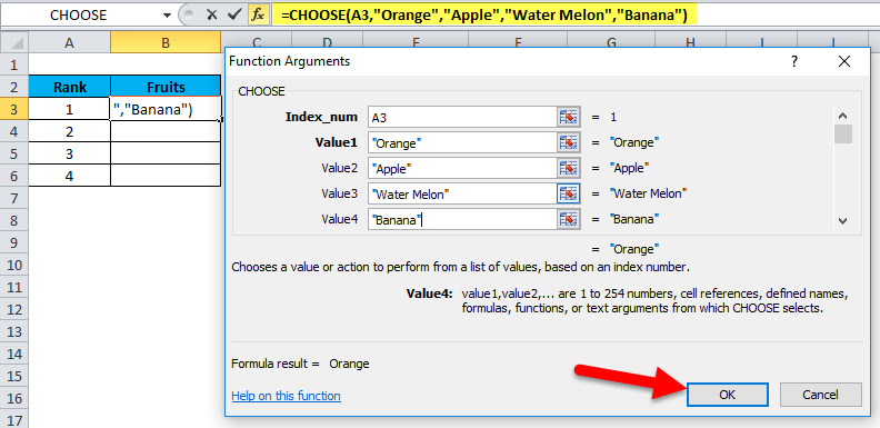 CHOOSE function in excel 1-8