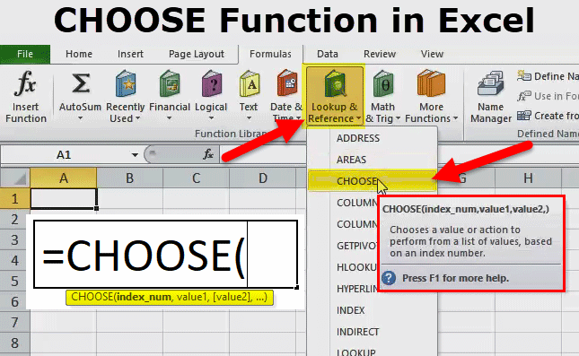 CHOOSE FUNCTION IN EXCEL