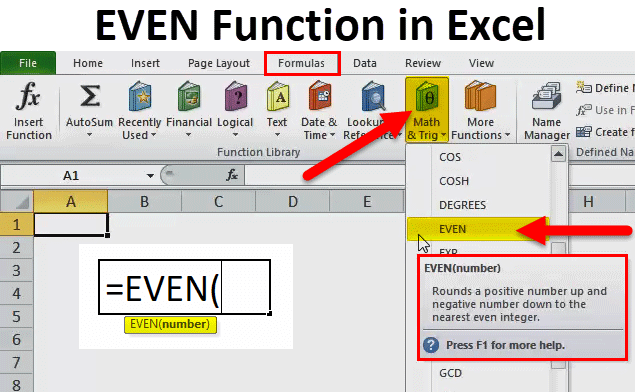 EVEN Function in Excel