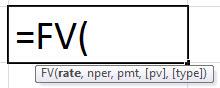 FV Formula in Excel