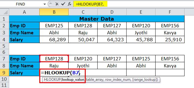 HLOOKUP Formula in Excel 1