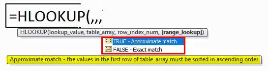HLOOKUP formula in Excel 2