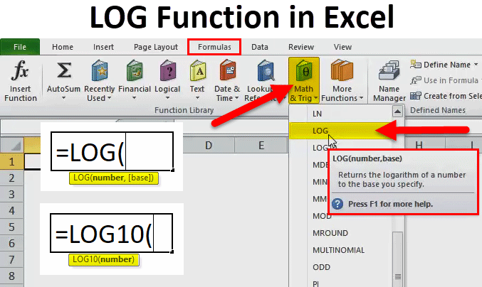LOG Function in Excel