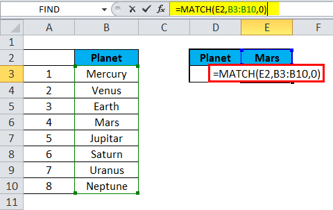 MATCH Function Example 1-1