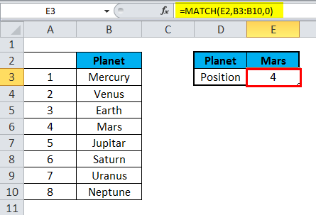 MATCH Function Example 1-2