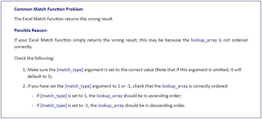 MATCH Function Error 1