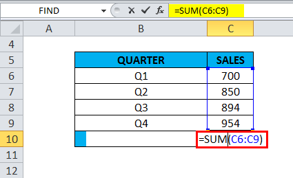 SUM Function in excel( get a total sales data.)
