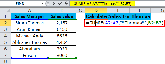 SUMIF Example 3-1
