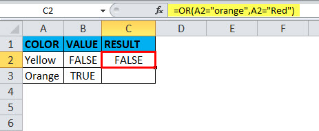 OR Function in Excel Example 1-2