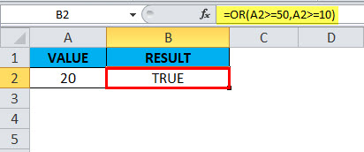 OR Function in Excel Example 2