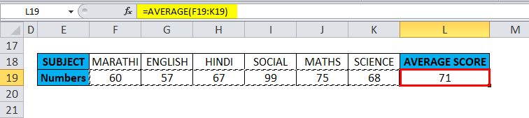 average in excel Example 2-9