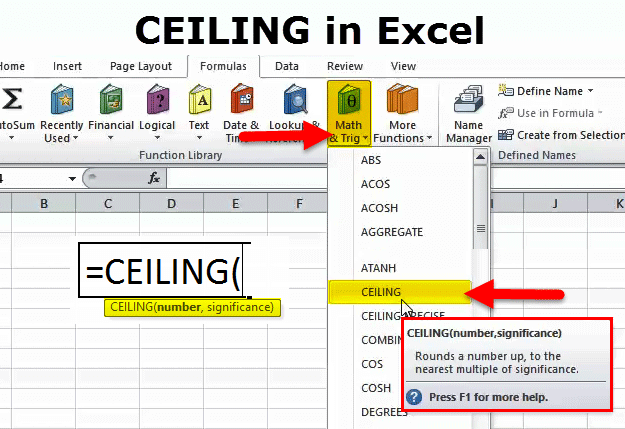 CEILING Function in Excel