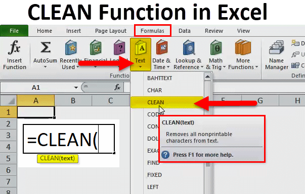 CLEAN function in excel