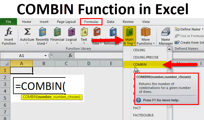 COMBIN Function in Excel