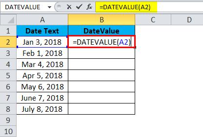DATEVALUE Example 1-2