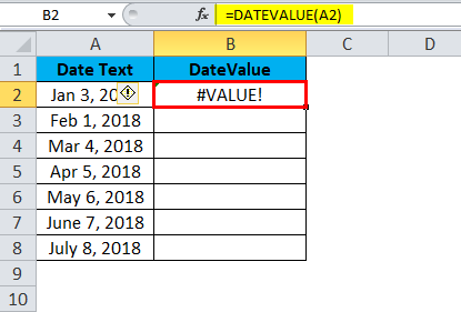 DATEVALUE Example 1-3