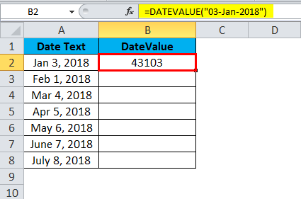 DATEVALUE Example 1-5
