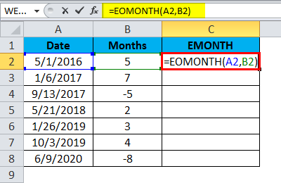 EOMONTH Example 1.1