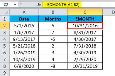 EOMONTH Example 1.3