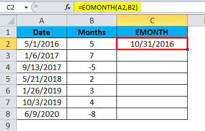 EOMONTH Example 1.2