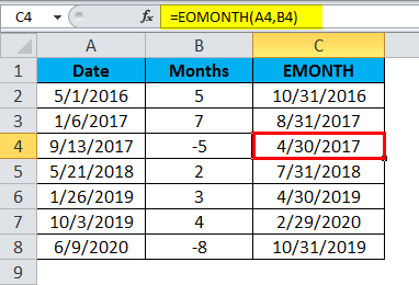 EOMONTH Example 1.4