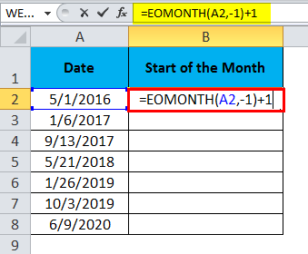EOMONTH Example 3.1
