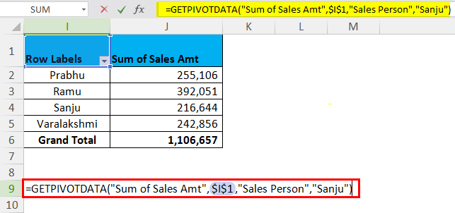 GETPIVOTDATA Example 1.3