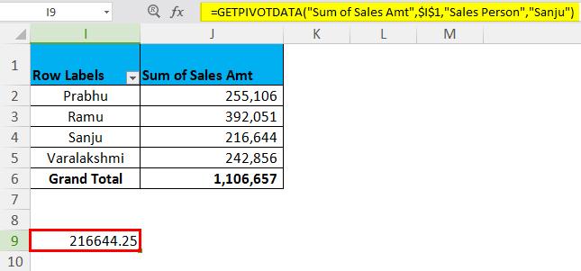 GETPIVOTDATA Example 1.4