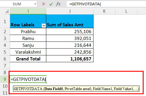 GETPIVOTDATA Example 1.5