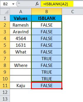 ISBLANK Example 1-4