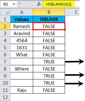 ISBLANK Example 1-5
