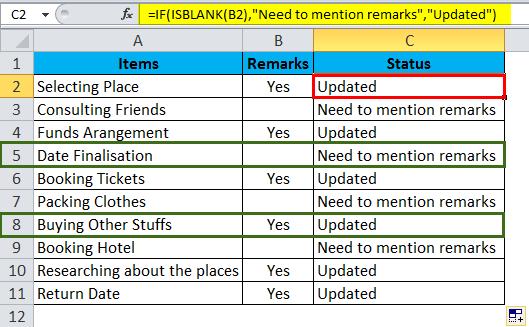 ISBLANK Example 3-4