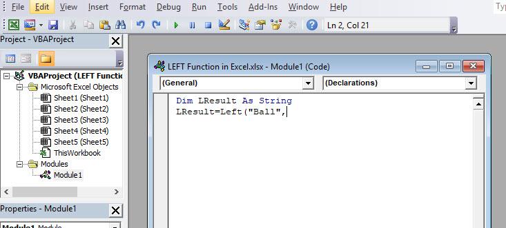 LEFT VBA Code