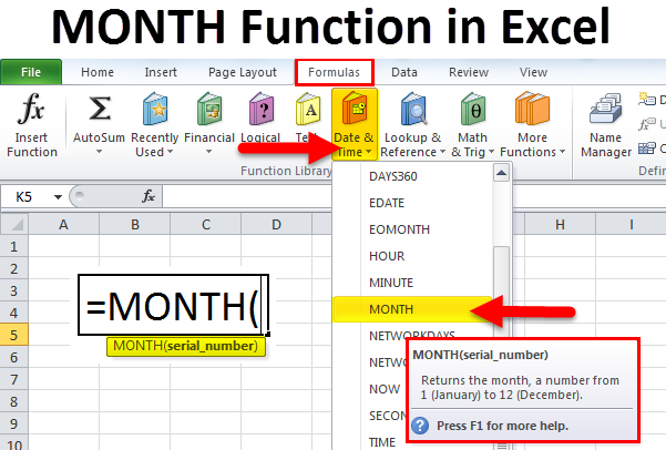 MONTH Function in Excel