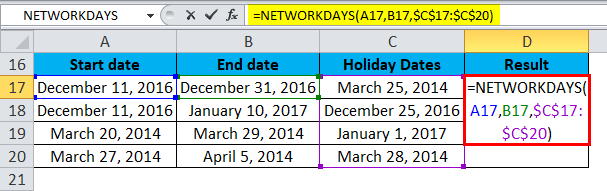 NETWORKDAYS Example 1-3