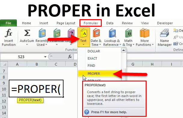 PROPER in Excel