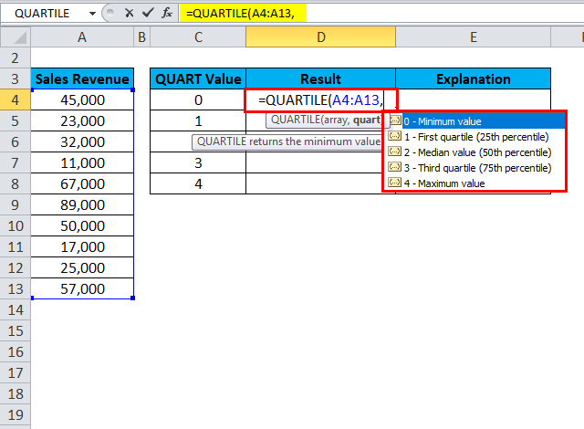 QUARTILE Example 1-3