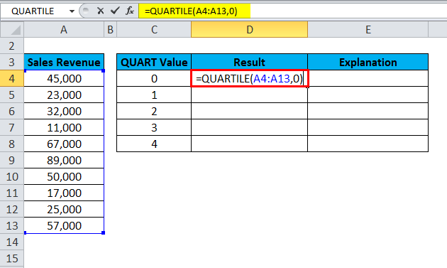 QUARTILE Example 1-4