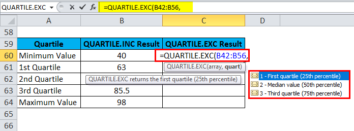 QUARTILE Example 3-7