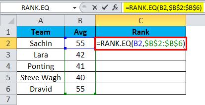 RANK.EQ function 2