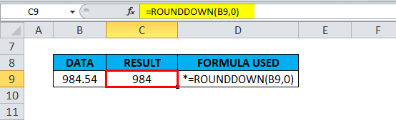 ROUNDDOWN Example 1-6