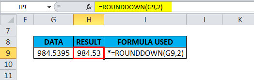 ROUNDDOWN Example 2-6