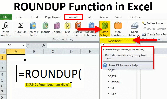 ROUNDUP in Excel